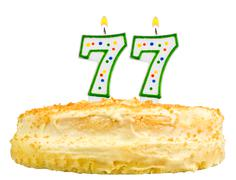 Birthday cake candles number seventy seven Stock Photos