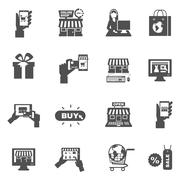 Stock Illustration of Internet Shopping Silhouette Icon Set