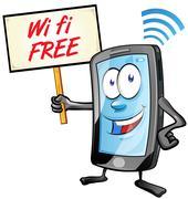 Fun mobile cartoon with wi fi signboard Stock Illustration