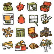 Financial Icons Set Stock Illustration