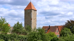 Watch Tower at the City Wall, Dinkelsbuhl, Germany Stock Footage