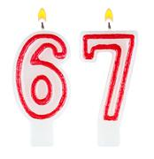 Birthday candles number sixty seven - stock photo