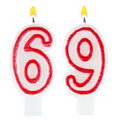 Birthday candles number sixty nine - stock photo
