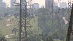 Hydro and power lines stressed and sagging in severe heatwave on hot summer day - stock footage