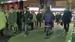 Japanese People on Street with bicycles in OTA Tokyo Japan Stock Footage
