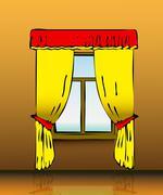 Yellow curtains Stock Illustration