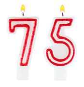 Birthday candles number seventy five Stock Photos