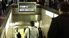 Train Station Entrance in Shibuya Tokyo Japan Stock Footage