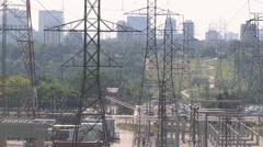 Hydro and power lines stressed and sagging in severe heatwave on hot summer day Stock Footage