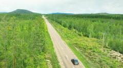 Aerial drone shot of a road with cars Stock Footage