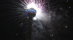 CN Tower Fireworks, Closing Ceremony 2015 Toronto Pan Am Games Stock Footage