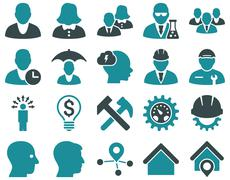 Stock Illustration of Client and business icon set