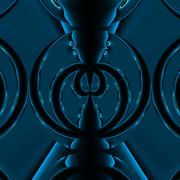Two abstract blue spiders fighting on the black background - stock illustration