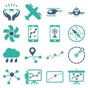 Stock Illustration of Aircraft navigation icon set