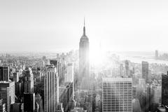 New York City Manhattan skyline in sunset. - stock photo