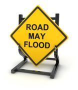 Road sign - road may flood - stock illustration