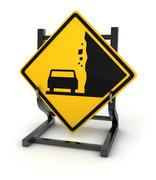 Road sign - falling rock from the right - stock illustration