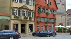 Horse-Drawn Carriage at the Historic City, Dinkelsbuhl, Germany Stock Footage