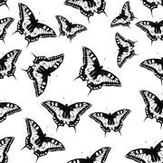 Butterfly Seamless Pattern Background Vector Illustration - stock illustration