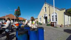 A band palying steel pans outdoors in summer Stock Footage