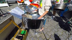 Playing steel pans - stock footage