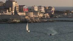 Marseille - Voilier Corniche - stock footage