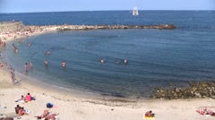 French Riviera Swimming Area and Beach, France Stock Footage