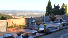Old Cemetery with View of Grasse, France in the background Stock Footage