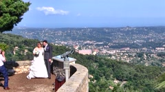 Wedding Couple with View of Grasse as background, France Stock Footage