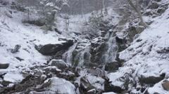 Mountain waterfall in winter panorama Stock Footage