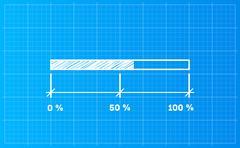 Digiral download bar on a blueprint background - stock illustration