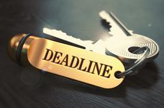 Deadline written on Golden Keyring Stock Illustration