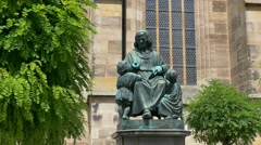 Monument at the St. George Church, Dinkelsbuhl, Germany Stock Footage