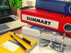 Red Office Folder with Inscription Summary Stock Illustration