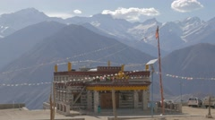 Temple in village with mountains,Nako,Kinnaur,India Stock Footage