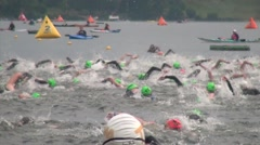 Triathlon Swimmers in Lake Stock Footage