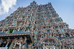Colorful tower of Meenakshi Amman Temple - stock photo