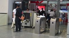 Security checks in Shenzhen Convention and Exhibition Center, China Stock Footage
