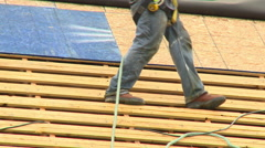 Construction Roofing boots 1 Stock Footage