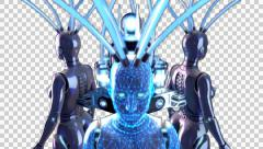 3 3D HUMANOID WOMEN ROBOT MODELS ROTATION ANIMATION. TRANSPARENT ALPHA CHANNEL - stock footage