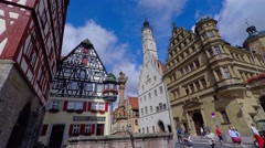 Historic City, Rothenburg ob der Tauber, Germany Stock Footage
