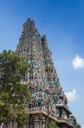 Colorful tower of Meenakshi Amman Temple Stock Photos