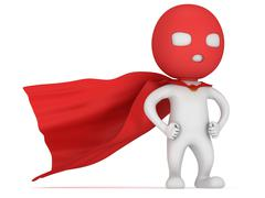 3d man brave superhero with red cloak - stock illustration