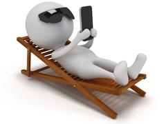 Stock Illustration of 3d white man relax with smartphone