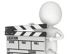 3D man with cinema clapperboard Stock Illustration