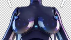 3D CYBERPUNK WOMAN BREAST SHOOTS ANIMATION. TRANSPARENT ALPHA CHANNEL Stock Footage