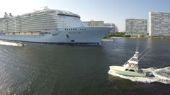 Aerial-Cruise ship leaving Ft. Lauderdale - stock footage