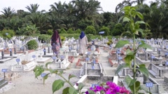 Two Muslim women visiting their relative's grave and offers prayers by reciting - stock footage