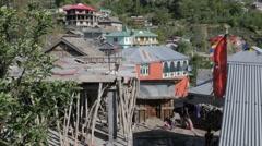 Family in village,Kalpa,Kinnaur,India Stock Footage