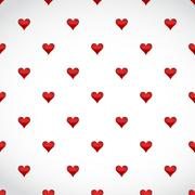Stock Illustration of red hearts patter over a white background